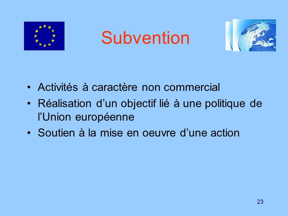 Subvention Activités à caractère non commercial