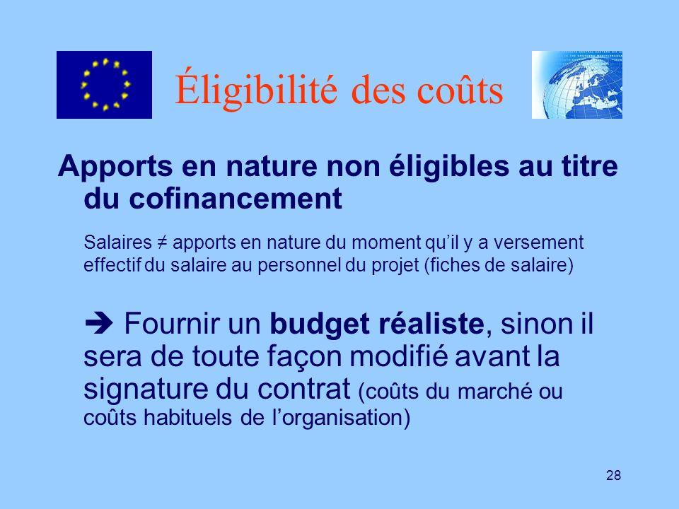 Éligibilité des coûts Apports en nature non éligibles au titre du cofinancement.