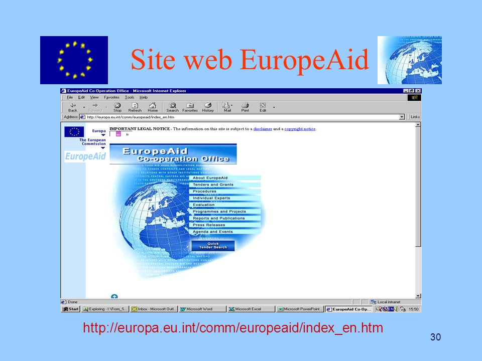 Site web EuropeAid http://europa.eu.int/comm/europeaid/index_en.htm