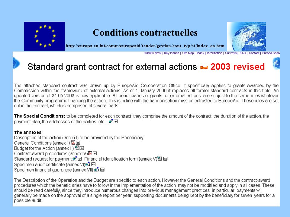 Conditions contractuelles http://europa. eu