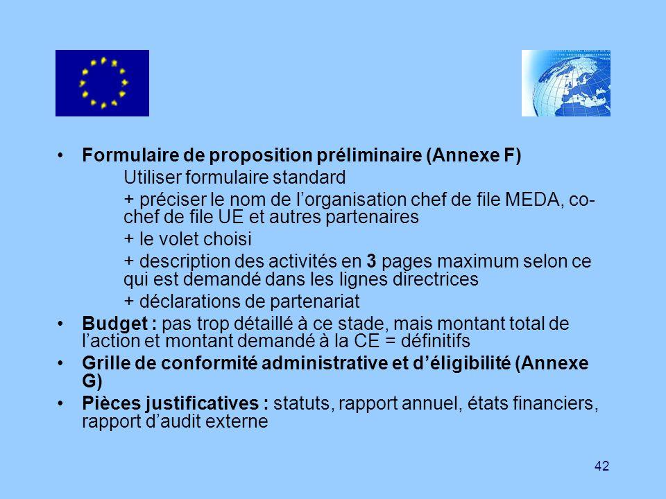 Formulaire de proposition préliminaire (Annexe F)
