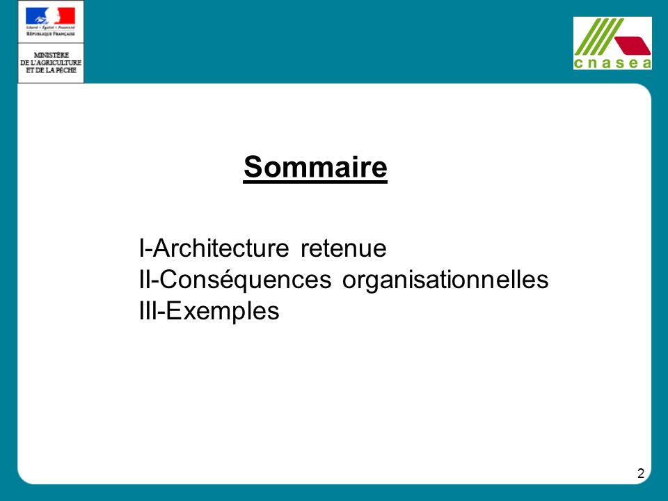 I-Architecture retenue II-Conséquences organisationnelles III-Exemples
