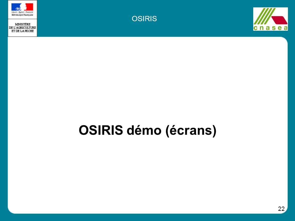 OSIRIS OSIRIS démo (écrans)