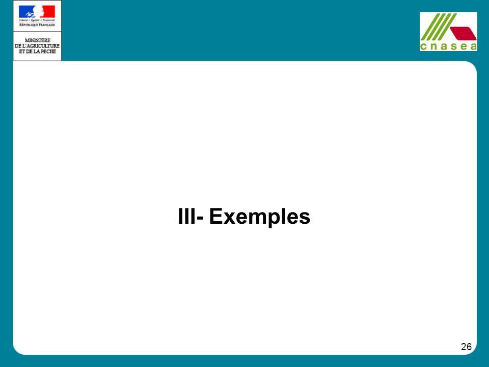 III- Exemples
