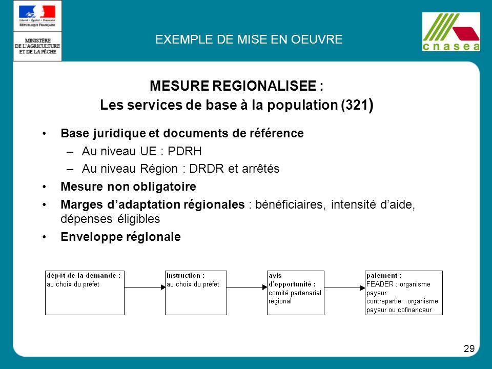 MESURE REGIONALISEE : Les services de base à la population (321)