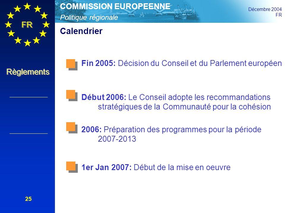 Calendrier Fin 2005: Décision du Conseil et du Parlement européen