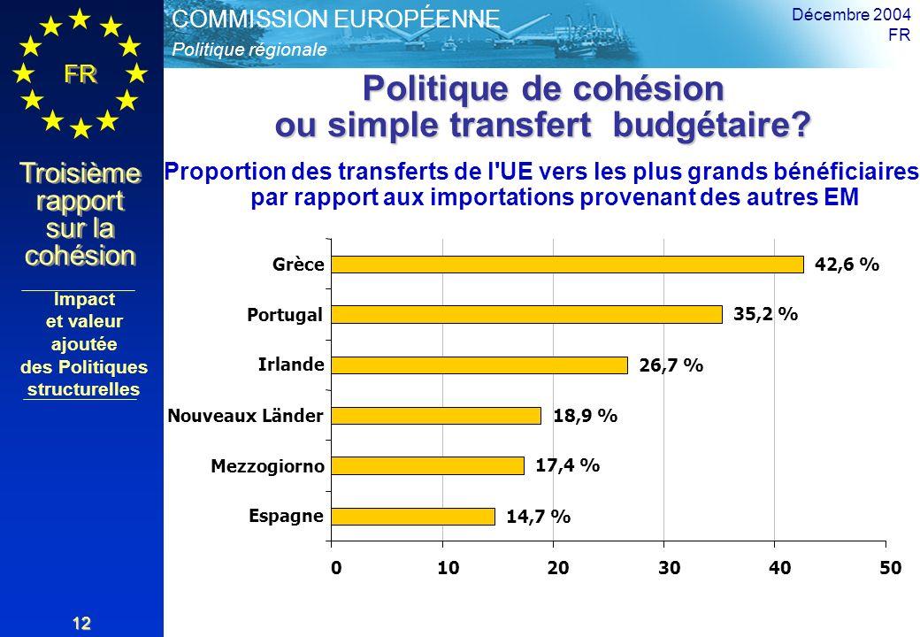 Politique de cohésion ou simple transfert budgétaire