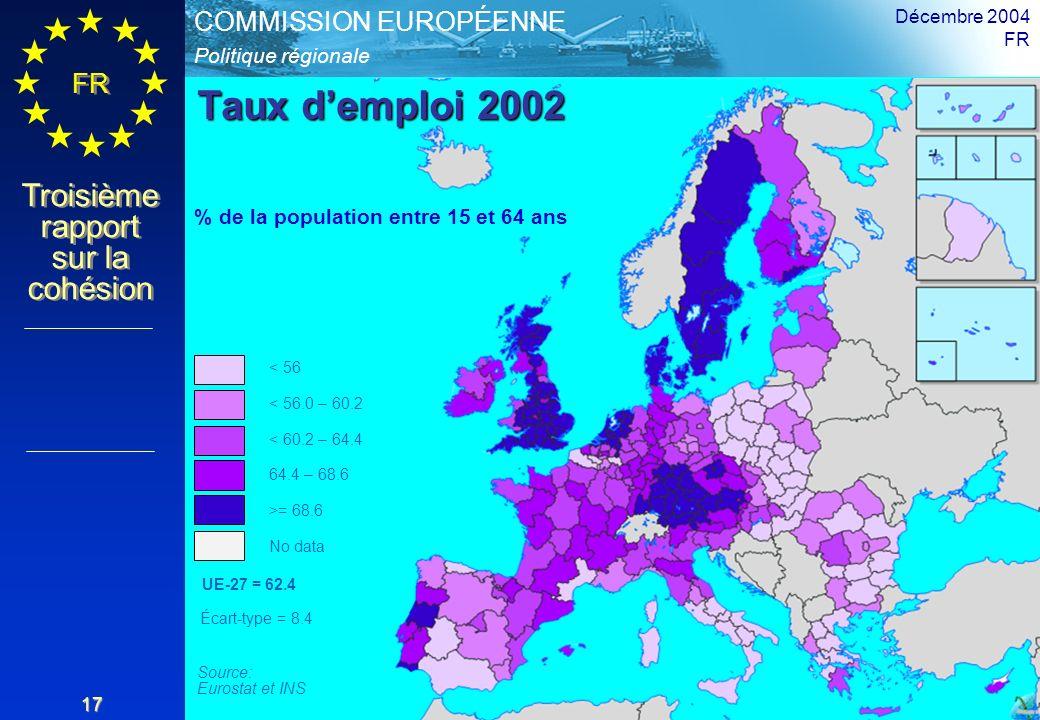 Taux d'emploi 2002 % de la population entre 15 et 64 ans Décembre 2004