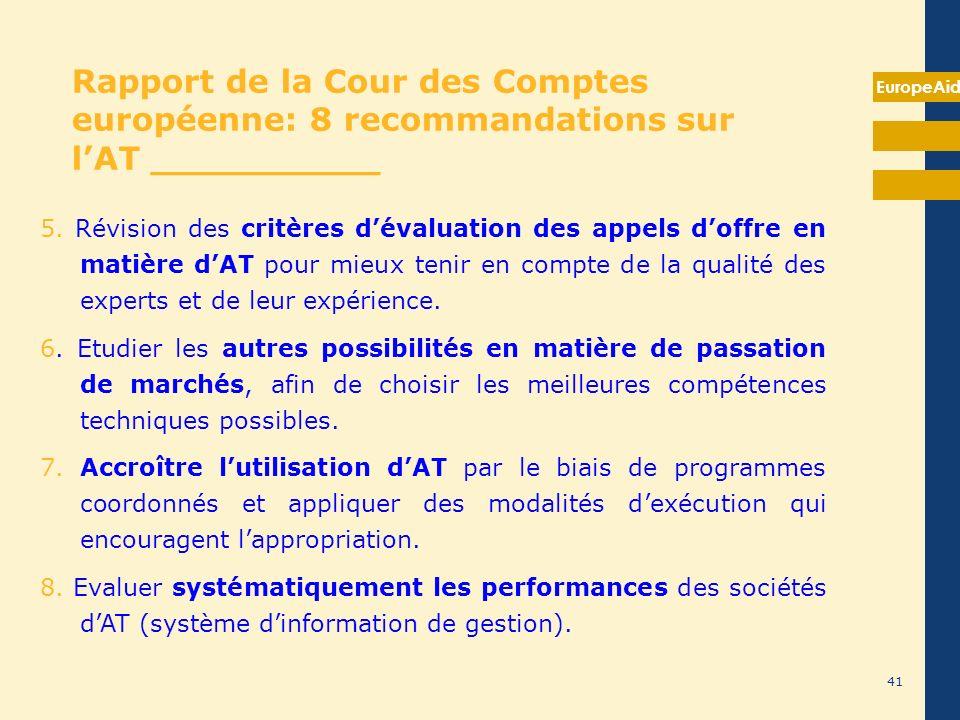 Rapport de la Cour des Comptes européenne: 8 recommandations sur l'AT __________