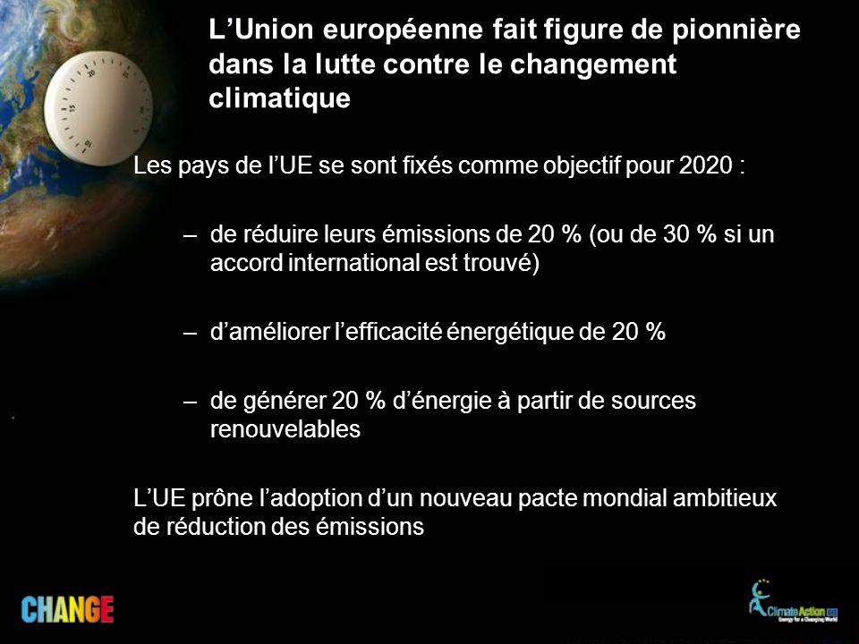L'Union européenne fait figure de pionnière dans la lutte contre le changement climatique