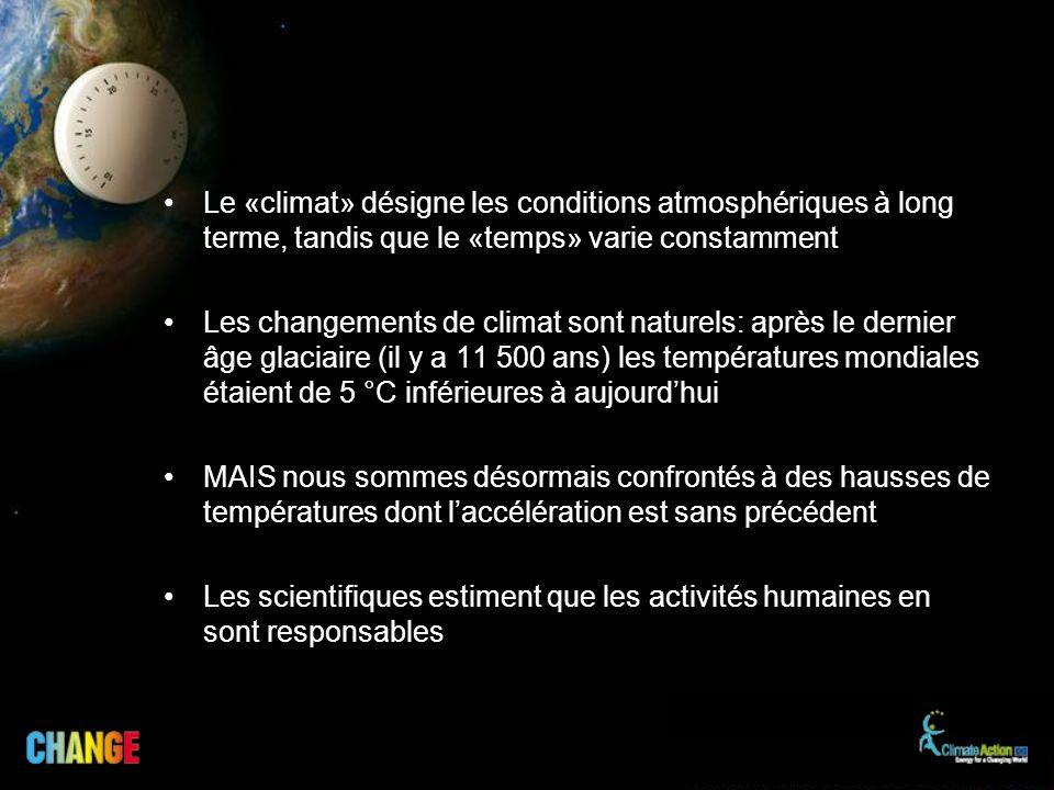 Le «climat» désigne les conditions atmosphériques à long terme, tandis que le «temps» varie constamment
