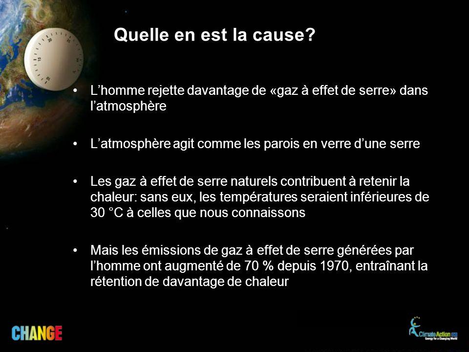 Quelle en est la cause L'homme rejette davantage de «gaz à effet de serre» dans l'atmosphère.