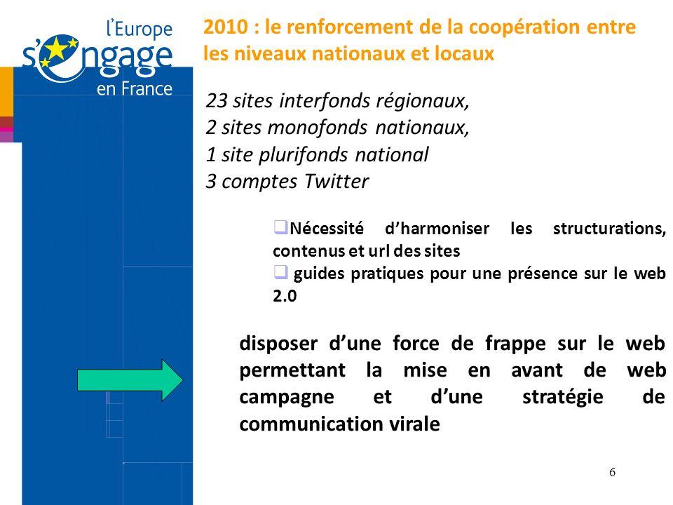 23 sites interfonds régionaux, 2 sites monofonds nationaux,