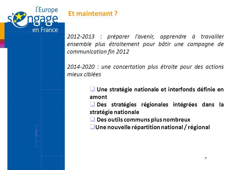 Et maintenant 2012-2013 : préparer l'avenir, apprendre à travailler ensemble plus étroitement pour bâtir une campagne de communication fin 2012.