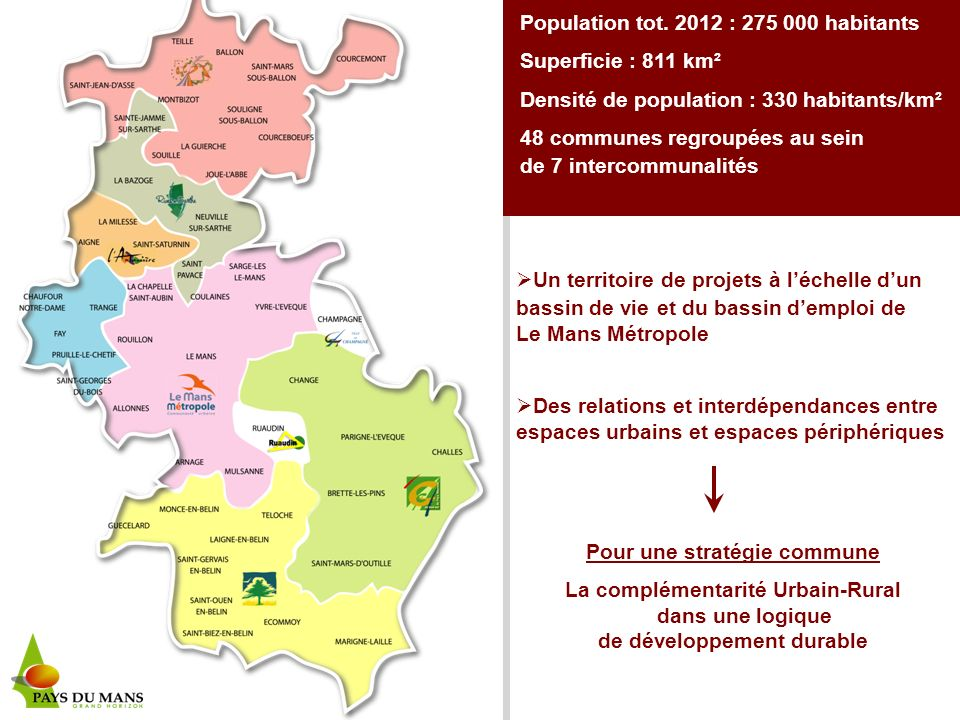 Population tot. 2012 : 275 000 habitants Superficie : 811 km²