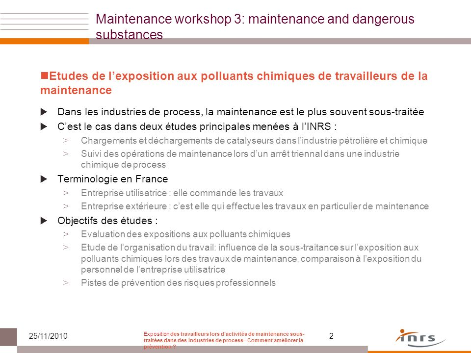 Maintenance workshop 3: maintenance and dangerous substances