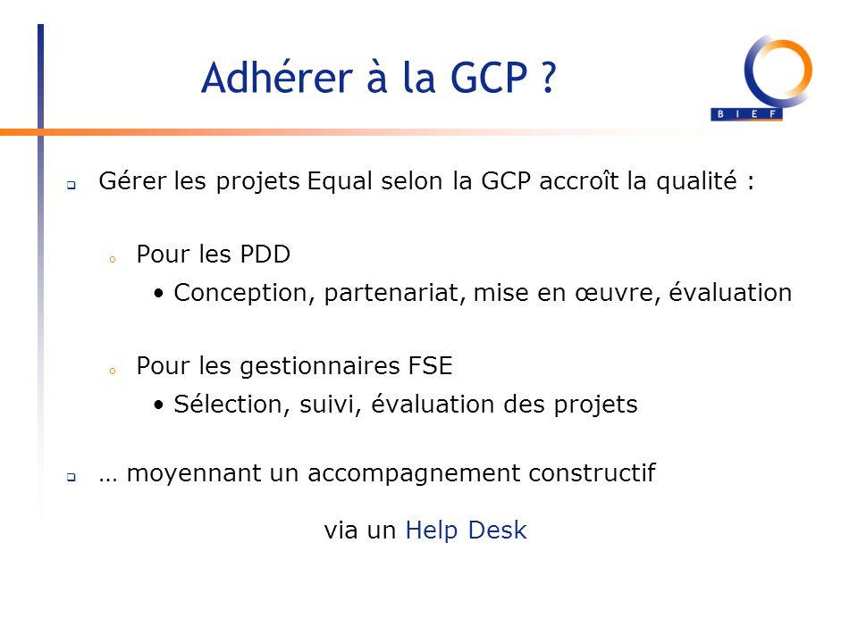 Adhérer à la GCP Gérer les projets Equal selon la GCP accroît la qualité : Pour les PDD. Conception, partenariat, mise en œuvre, évaluation.