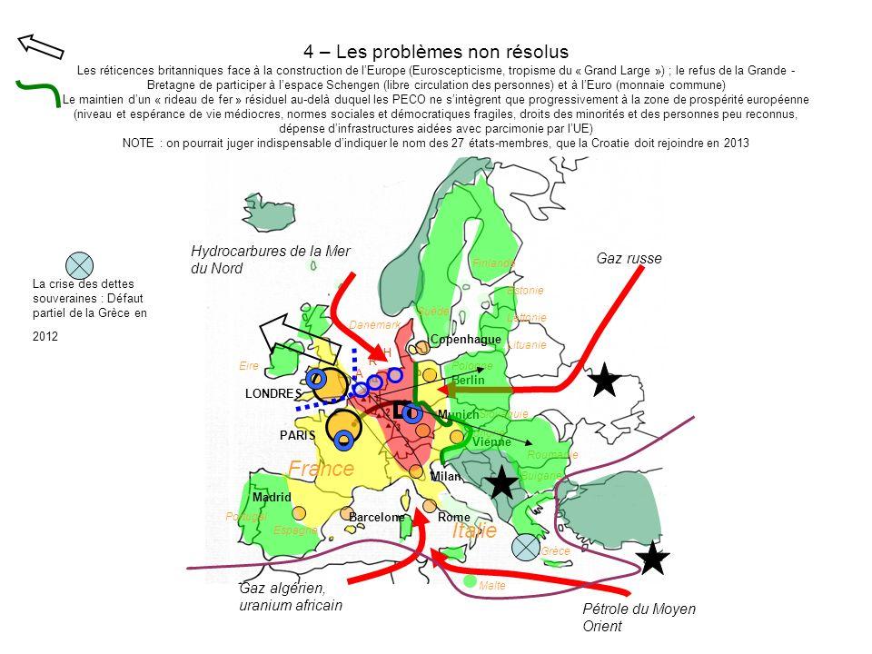 4 – Les problèmes non résolus Les réticences britanniques face à la construction de l'Europe (Euroscepticisme, tropisme du « Grand Large ») ; le refus de la Grande - Bretagne de participer à l'espace Schengen (libre circulation des personnes) et à l'Euro (monnaie commune) Le maintien d'un « rideau de fer » résiduel au-delà duquel les PECO ne s'intègrent que progressivement à la zone de prospérité européenne (niveau et espérance de vie médiocres, normes sociales et démocratiques fragiles, droits des minorités et des personnes peu reconnus, dépense d'infrastructures aidées avec parcimonie par l'UE) NOTE : on pourrait juger indispensable d'indiquer le nom des 27 états-membres, que la Croatie doit rejoindre en 2013