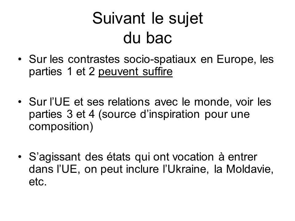 Suivant le sujet du bac Sur les contrastes socio-spatiaux en Europe, les parties 1 et 2 peuvent suffire.