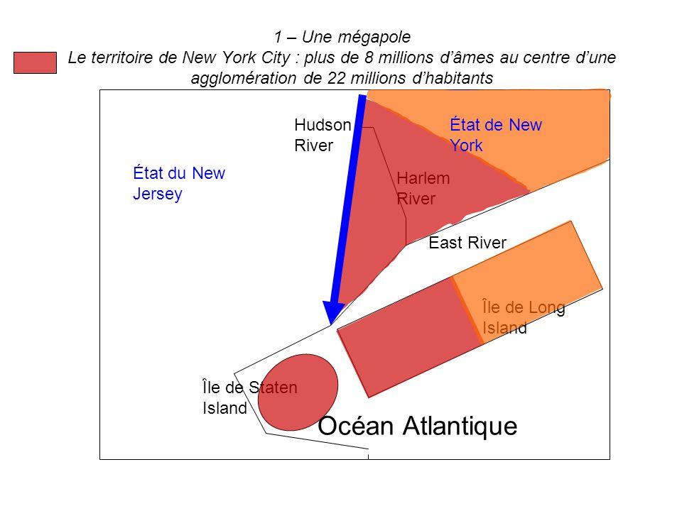 1 – Une mégapole Le territoire de New York City : plus de 8 millions d'âmes au centre d'une agglomération de 22 millions d'habitants