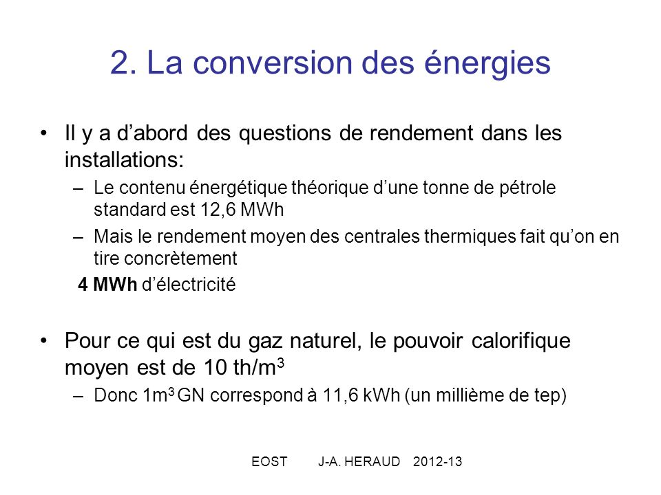 2. La conversion des énergies