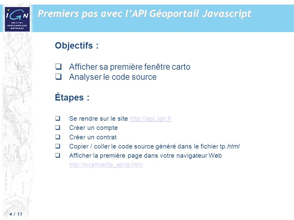 Premiers pas avec l'API Géoportail Javascript