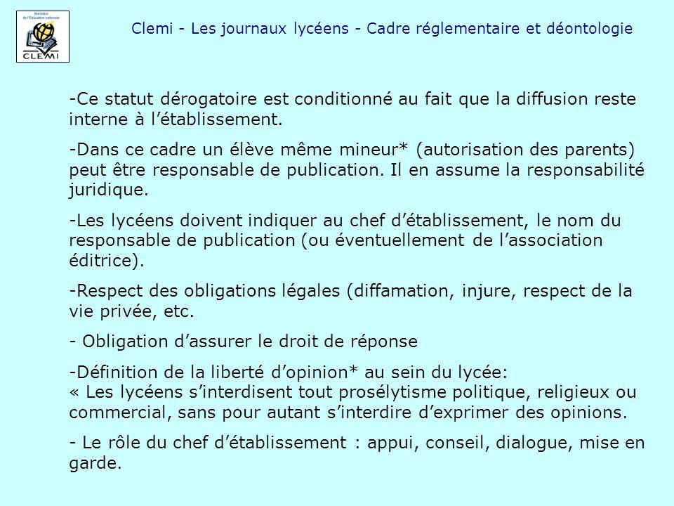 Clemi - Les journaux lycéens - Cadre réglementaire et déontologie