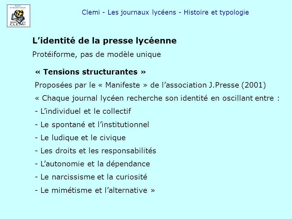 Clemi - Les journaux lycéens - Histoire et typologie