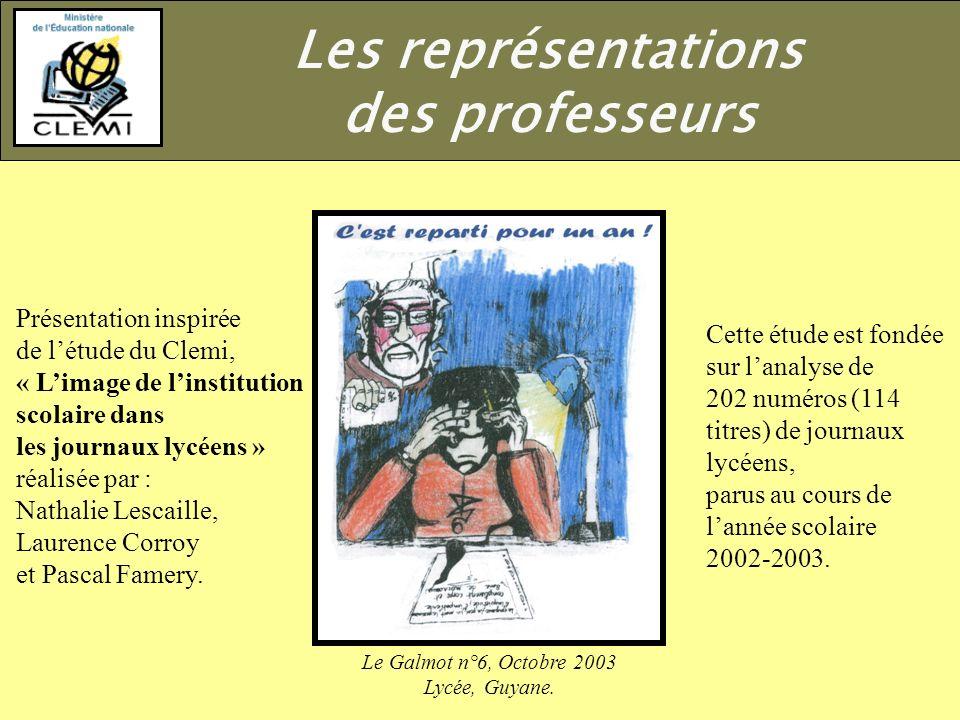Les représentations des professeurs Présentation inspirée
