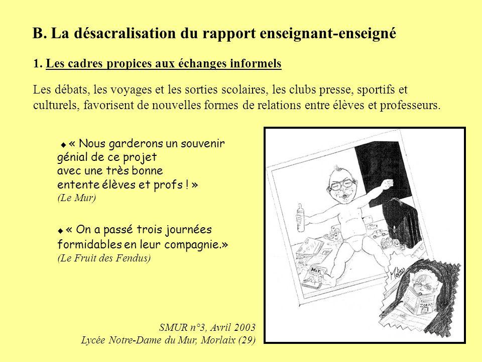 B. La désacralisation du rapport enseignant-enseigné