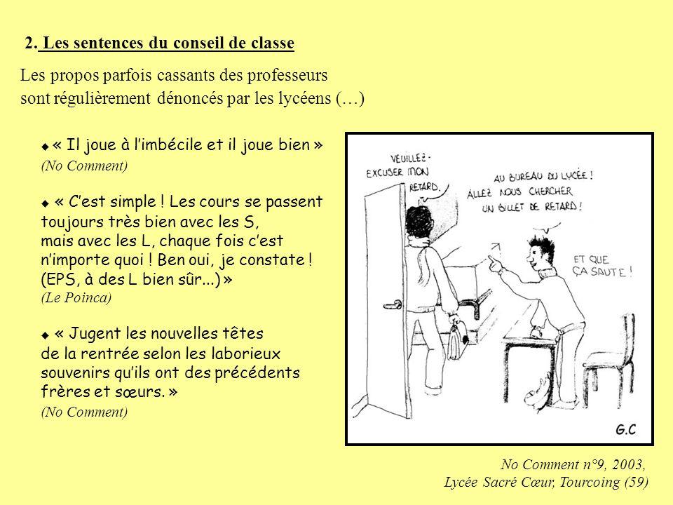 2. Les sentences du conseil de classe