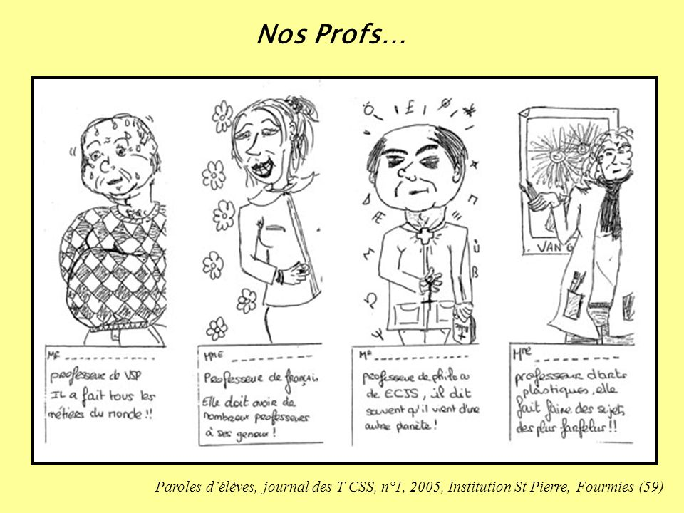 Nos Profs… Paroles d'élèves, journal des T CSS, n°1, 2005, Institution St Pierre, Fourmies (59)