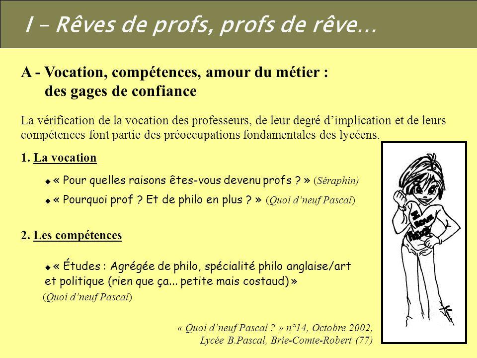 I – Rêves de profs, profs de rêve…