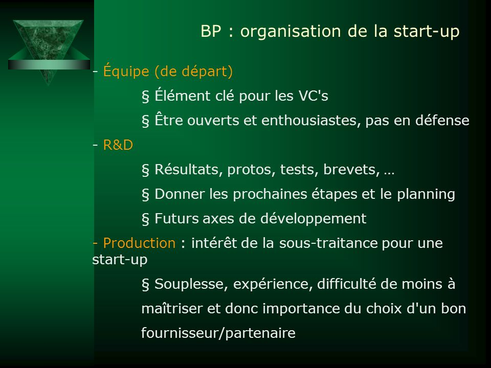 BP : organisation de la start-up