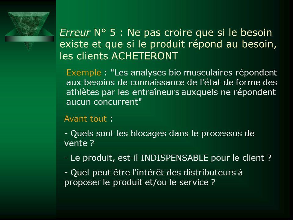 Erreur N° 5 : Ne pas croire que si le besoin existe et que si le produit répond au besoin, les clients ACHETERONT