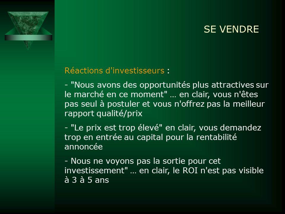 SE VENDRE Réactions d investisseurs :