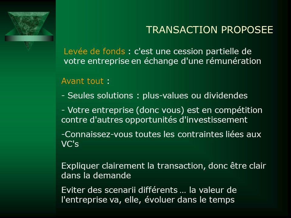 TRANSACTION PROPOSEE Levée de fonds : c est une cession partielle de votre entreprise en échange d une rémunération.