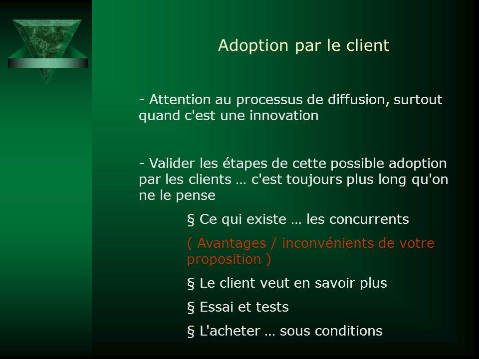Adoption par le client Attention au processus de diffusion, surtout quand c est une innovation.