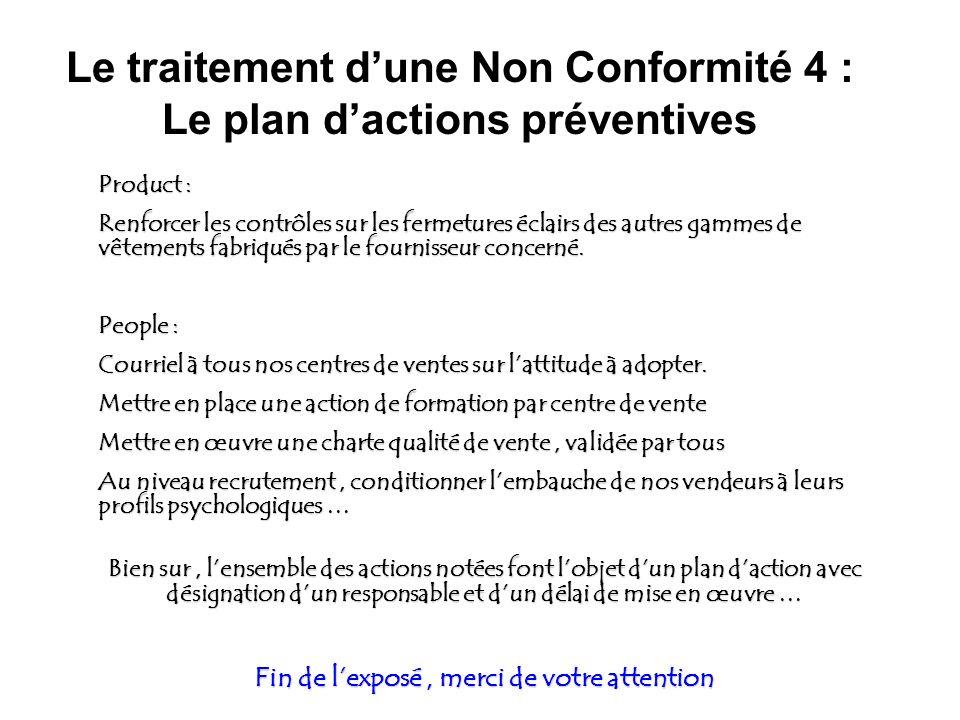 Le traitement d'une Non Conformité 4 : Le plan d'actions préventives