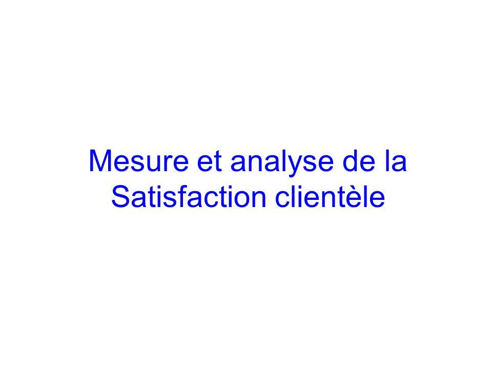 Mesure et analyse de la Satisfaction clientèle