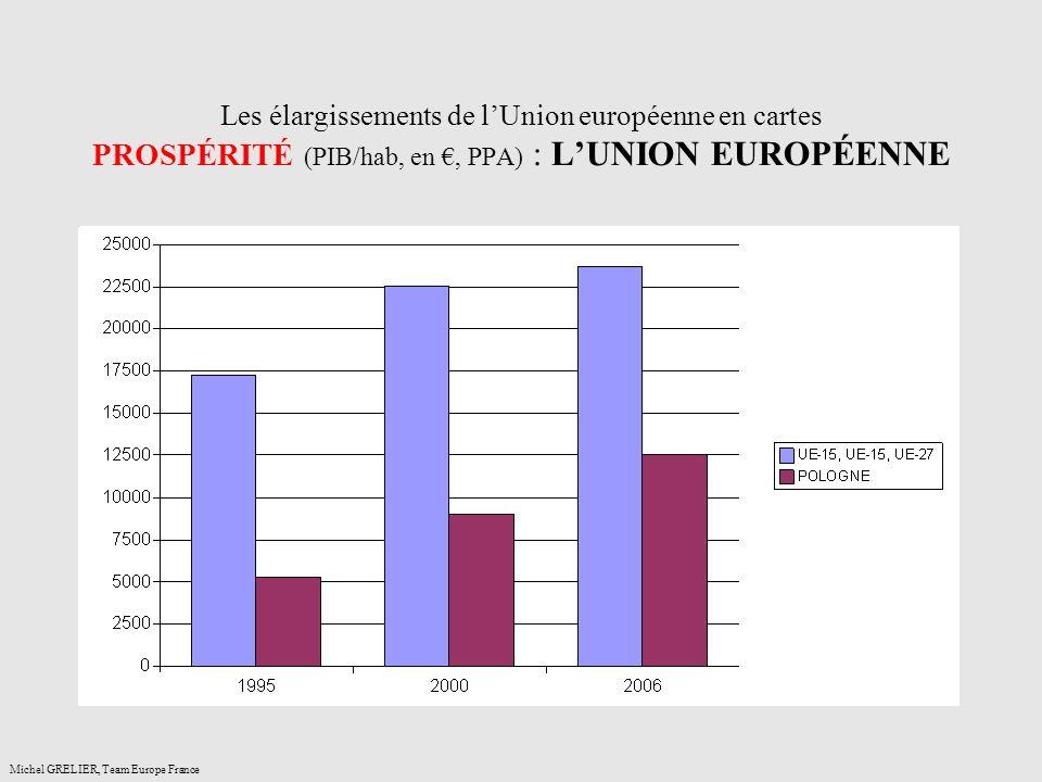 Les élargissements de l'Union européenne en cartes PROSPÉRITÉ (PIB/hab, en €, PPA) : L'UNION EUROPÉENNE