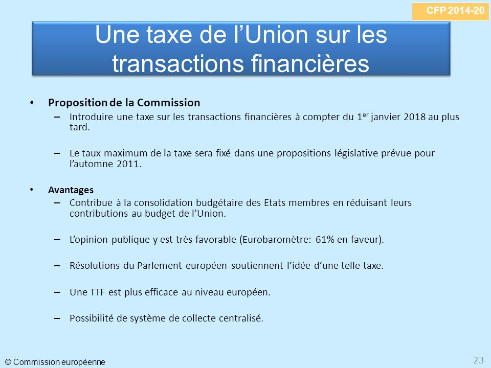 Une taxe de l'Union sur les transactions financières
