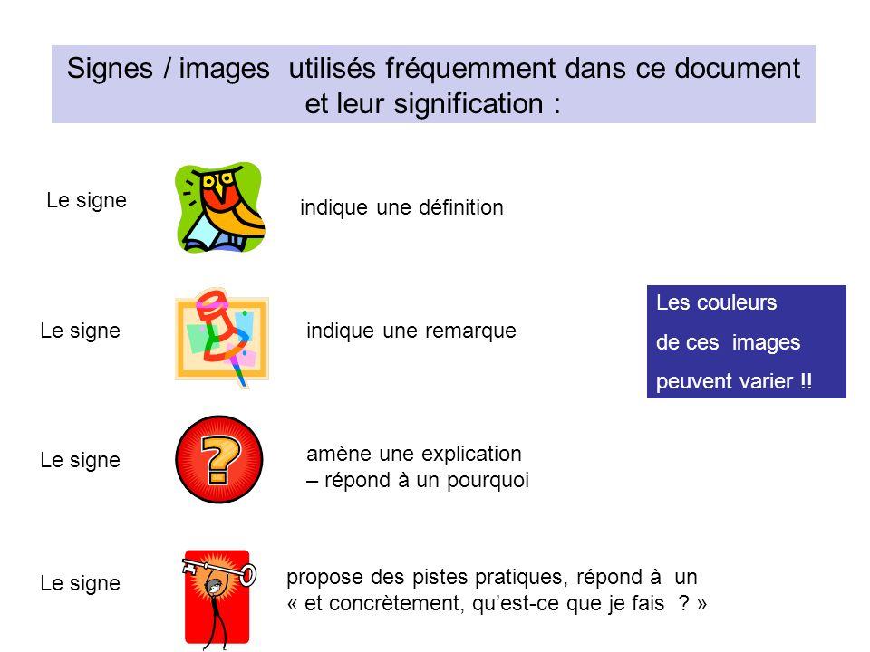 Signes / images utilisés fréquemment dans ce document et leur signification :