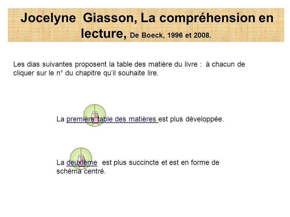 Jocelyne Giasson, La compréhension en lecture, De Boeck, 1996 et 2008.