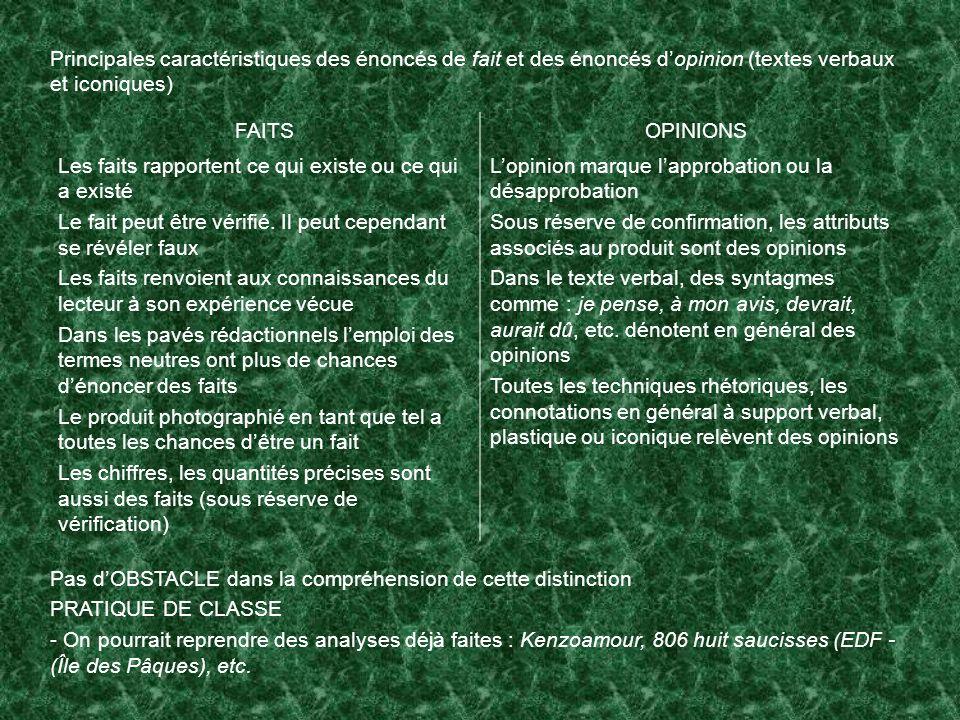 Principales caractéristiques des énoncés de fait et des énoncés d'opinion (textes verbaux et iconiques)