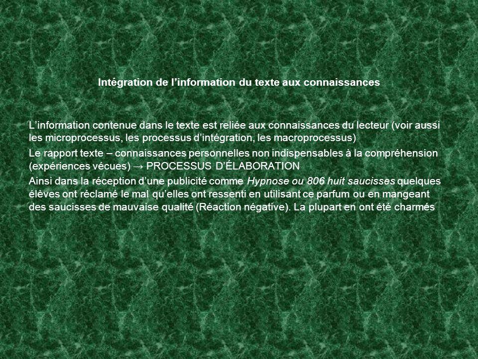 Intégration de l'information du texte aux connaissances
