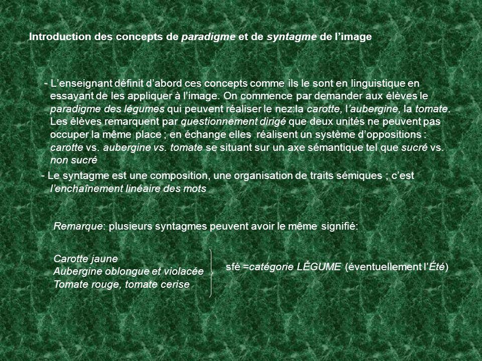 Introduction des concepts de paradigme et de syntagme de l'image
