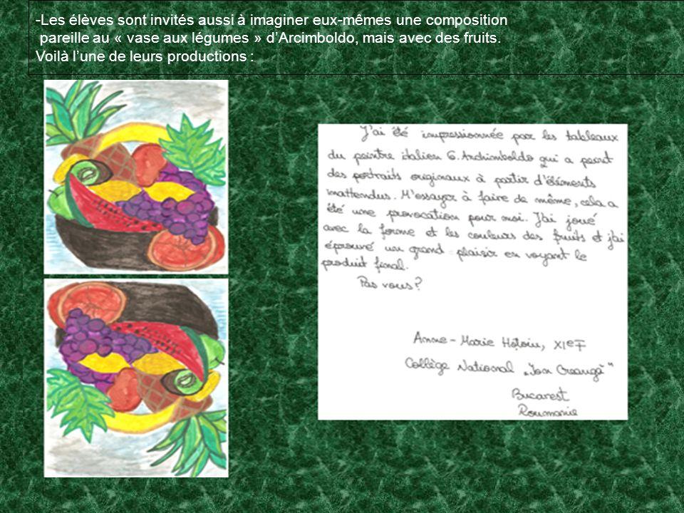 -Les élèves sont invités aussi à imaginer eux-mêmes une composition