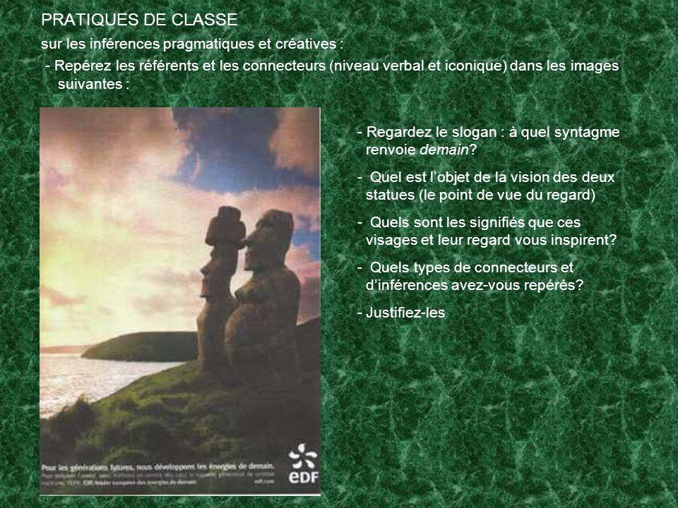 PRATIQUES DE CLASSE sur les inférences pragmatiques et créatives :