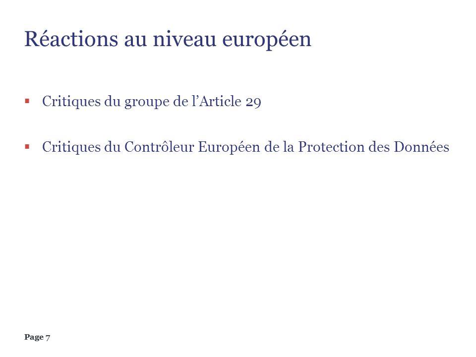 Réactions au niveau européen